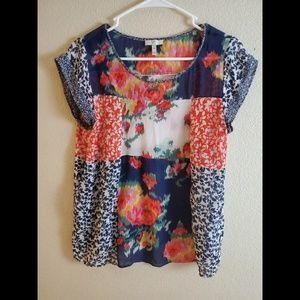 JOIE Silk Sheer Floral Boho Patchwork Top